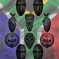 Africa Flag And Tribal Masks by Dan Sproul