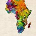 Africa Watercolor Map by Michael Tompsett