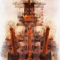 Aft Turret 3 Sun Down Uss Iowa Battleship Photo Art 01 by Thomas Woolworth