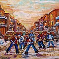 After School Winter Fun Street Hockey Paintings Of Montreal City Scenes Carole Spandau by Carole Spandau