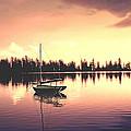 Afterglow  Sunset On Lake Sailboat Panoramic Picture by John Samsen