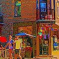Afternoon Stroll French Bistro Sidewalk Cafe Colors Of Montreal Flags And Umbrellas City Scene Art by Carole Spandau