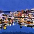 Painting Of Agios Nikolaos City by George Atsametakis