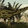 Agustinia Dinosaur Walking Amongst by Elena Duvernay