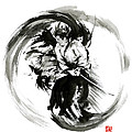 Aikido Techniques Martial Arts Sumi-e Black White Round Circle Design Yin Yang Ink Painting Watercol by Mariusz Szmerdt