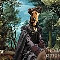 Airedale Terrier Art Canvas Print - Forest Landscape With Deer Hunting And Noble Lady by Sandra Sij