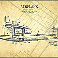 Airplane Patent Drawing From 1921-vintage by Aged Pixel
