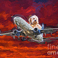 Fluffy Dog Piloting A Plane by Les Palenik
