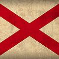 Alabama State Flag Art On Worn Canvas by Design Turnpike