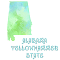 Alabama - Yellowhammer State - Map - State Phrase - Geology by Andee Design
