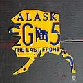 Alaska License Plate Map Artwork by Design Turnpike