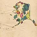 Alaska Map Vintage Watercolor by Florian Rodarte