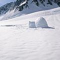 Alaska Range And Glacier With Igloo by Jeff Schultz