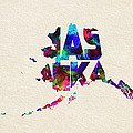 Alaska Typographic Watercolor Map by Inspirowl Design
