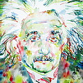 Albert Einstein Watercolor Portrait.1 by Fabrizio Cassetta