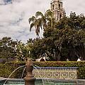 Alcazar Garden Fountain And California Tower by Lee Kirchhevel