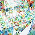 Aldous Huxley - Watercolor Portrait by Fabrizio Cassetta