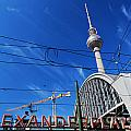 Alexanderplatz Sign And Television Tower Berlin Germany by Michal Bednarek