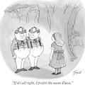 Alice Is Seen Talking With Tweedle-dee by Tom Toro