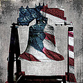 All American Liberty Bell Art_denim by Lesa Fine