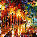 Alley Of The Memories - Palette Knife Oil Painting On Canvas By Leonid Afremov by Leonid Afremov