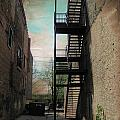 Alley With Fire Escape And Grunge Border 1 by Anita Burgermeister