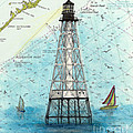 Alligator Reef Lighthouse Fl Keys Nautical Map Cathy Peek by Cathy Peek