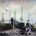 Allonby - Fishing Village 1840s by Lianne Schneider