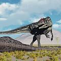 Allosaurus Dinosaurs Approaching by Mark Stevenson