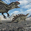Allosaurus Dinosaurs Moving In To Kill by Mark Stevenson