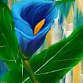 Alone In Blue- Calla Lily Paintings by Lourry Legarde