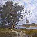 Along The River - Barbizon 1880s by David Lloyd Glover