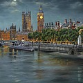 Along The Thames At Night by Gulay Berryman