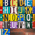 Alphabet License Plate Letters Artwork by Design Turnpike