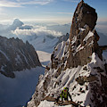 Alpinist On High Mountain Arete by Jonathan Griffith