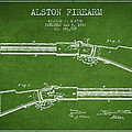 Alston Firearm Patent Drawing From 1887- Green by Aged Pixel