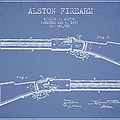 Alston Firearm Patent Drawing From 1887- Light Blue by Aged Pixel