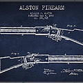 Alston Firearm Patent Drawing From 1887- Navy Blue by Aged Pixel