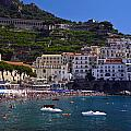 Amalfi Beach And Town by Sally Weigand