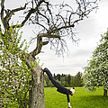 Amazing Stretching Exercise - Bmx Flatland Rider Monika Hinz Uses A Tree by Matthias Hauser