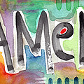 Amen- Colorful Word Art Painting by Linda Woods
