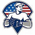 American Baseball Pitcher Gloves Retro by Aloysius Patrimonio