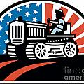 American Farmer Riding Vintage Tractor by Aloysius Patrimonio