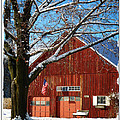 American Flag Red Barn by Dee Flouton