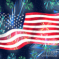 American Flag With Fireworks by Elle Arden Walby