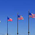 American Flags On Chicago's Famous Navy Pier by Christine Till