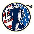 American Golfer Tee Off Golf Retro by Aloysius Patrimonio