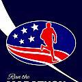 American Marathon Achieve Something Poster  by Aloysius Patrimonio