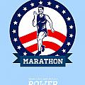 American Marathon Runner Power Poster by Aloysius Patrimonio