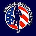American Marathon Runner Running Power Retro by Aloysius Patrimonio